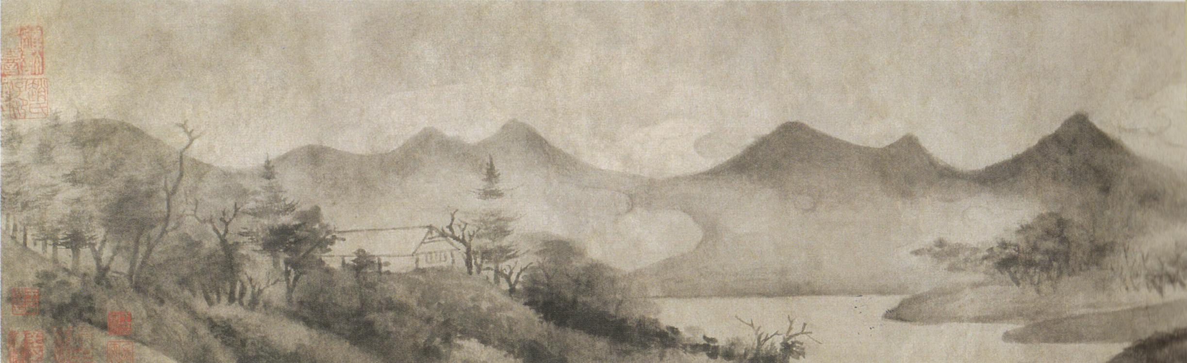 Vue merveilleuse de la Xiao et de la Xiang, rouleau peint par Mi Youren