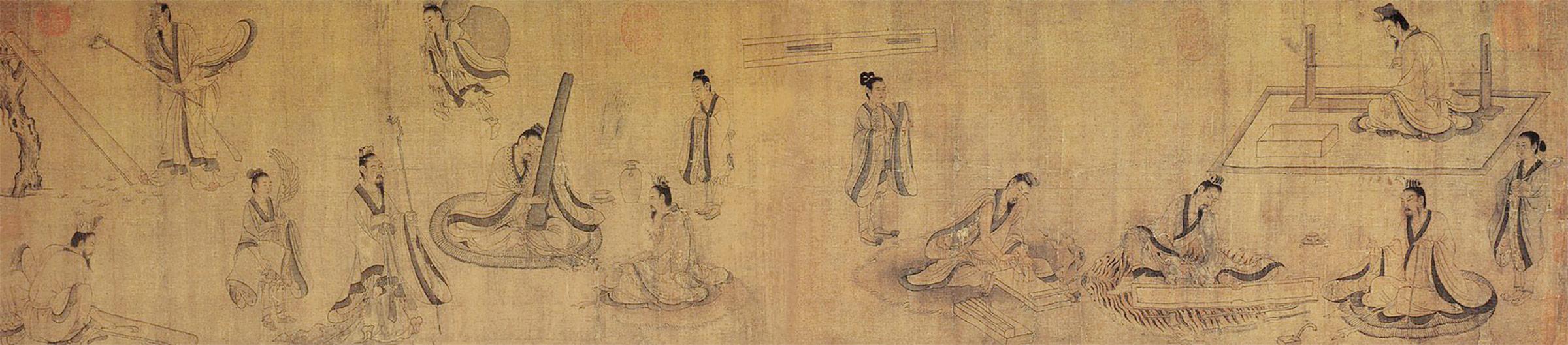 Etapes de la fabrication d'un qin, copie d'époque Song d'une peinture de Gu Kaizhi